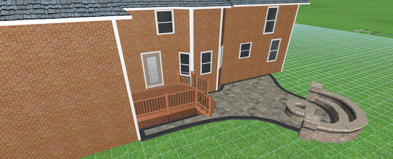 A computer generated patio design showing a potential paver patio for the backyard.